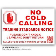 1 x QR Coded No Cold Callers,Salesman Calling Warning Sticker-130mm-EXTERNAL-Self Adhesive Vinyl Sign